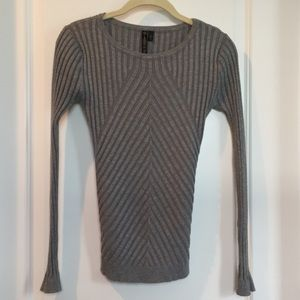 Allie & Rob Ribbed Sweater Grey Stretchy Small